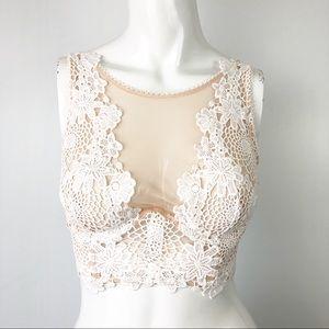 Victoria's Secret White Lace High Neck Bra